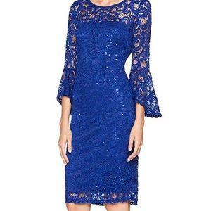 Marina Scalloped Sequined Lace Dress size 8